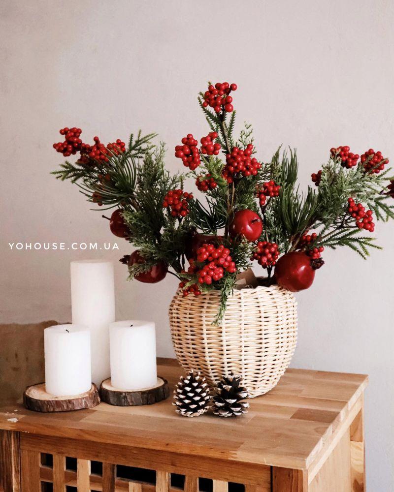 Декоративна гілка Зимові ягоди 46 см