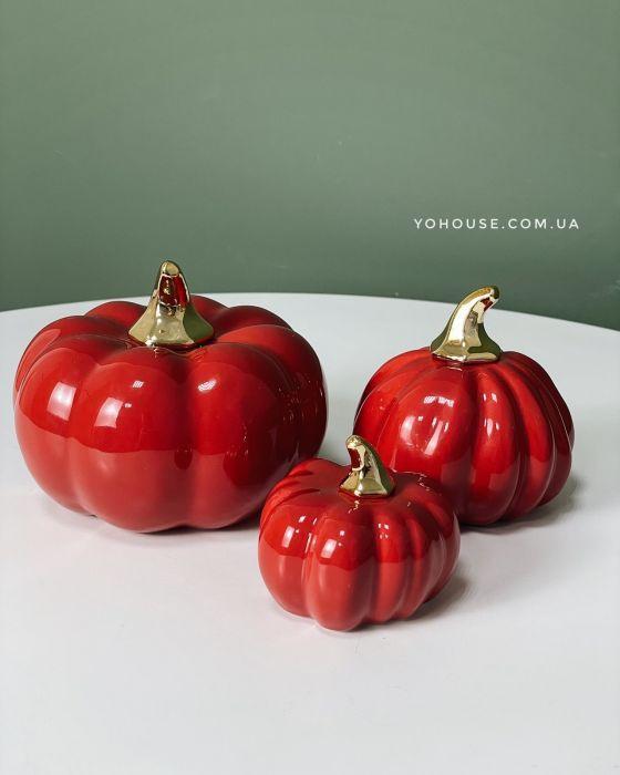 Декоративний гарбуз 9,4х9х9,3 см (  червоний  )